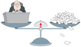 Bureaucrat on the scales with the pile of paper Stock Images