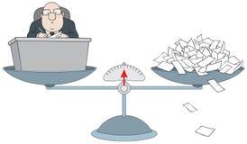 Bureaucrate sur les échelles avec la pile du papier illustration stock