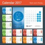 Bureaukalender voor het Jaar van 2017 Royalty-vrije Stock Foto