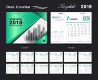 Bureaukalender voor het Jaar van 2018, het Vectormalplaatje van de Ontwerpdruk vector illustratie