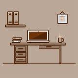 Bureaulandschap met laptop Stock Foto's