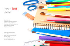 Bureaulevering & tekst Stock Foto's