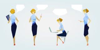 Bureaumeisje in blauw kostuum vector illustratie