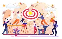 Bureaumensen Team Working voor Bedrijfssucces stock illustratie