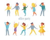 Bureaupartij met het dansen mensenvector die wordt geplaatst beeldverhaal Geïsoleerde kunstvlakte royalty-vrije illustratie