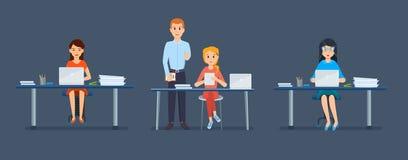 Bureaupersoneel van meisje, achter werkplaatsen, vóór computers en tabletten royalty-vrije illustratie