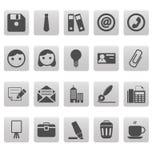 Bureaupictogrammen op grijze vierkanten Royalty-vrije Stock Foto