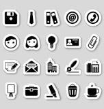Bureaupictogrammen op stikers Stock Foto's