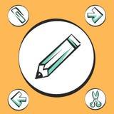 Bureaupictogrammen voor app en Web Vectorpop-arttekens Stock Fotografie