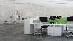 Bureauruimte Ontwerp van bureau het 3d teruggeven Stock Afbeelding