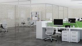Bureauruimte Ontwerp van bureau het 3d teruggeven Stock Afbeeldingen