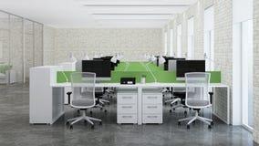 Bureauruimte Ontwerp van bureau het 3d teruggeven Royalty-vrije Stock Afbeeldingen