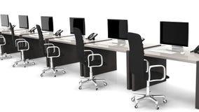 Bureaus met materiaal en zwarte stoelen royalty-vrije illustratie