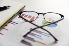 Bureauscène: financiële grafieken en grafieken Financiële gegevens concep stock afbeeldingen