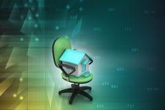 Bureaustoel met huismodel Royalty-vrije Stock Afbeelding