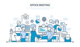 Bureauvergadering, werkschemaruimte, groepswerk, vennootschap, uitwisseling van informatie, mededelingen stock illustratie
