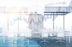 Bureauvergaderzaal en grafieken in collectieve stad, Stock Afbeelding