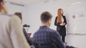 Bureauvrouw die aan het team in bestuurskamer voorstellen stock video