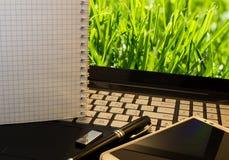 Bureauwerkplaats met notitieboekje, slimme telefoon, pen, flitsaandrijving en wordpad met groen gras Stock Afbeelding