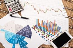 Bureauwerkplaats met PC, calculator en telefoon op grafieken of Stock Foto's
