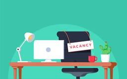 Bureauwerkplaats met vacatureteken Lege zetel, stoel in ruimte voor werknemer Het bedrijfs huren, rekruteringsconcept vector illustratie