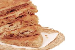 Burek in the basket isolated Stock Images