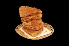 Burek in the basket isolated on black Royalty Free Stock Photography