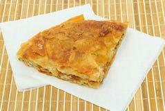 Burek o empanada curruscante de la pizza en servilletas de papel Imágenes de archivo libres de regalías