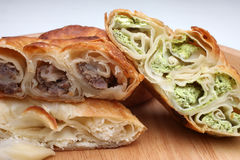 Burek pie with meat, cheese or spinach Stock Photography