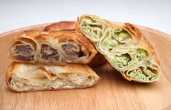 Burek pie with meat, cheese or spinach Stock Images