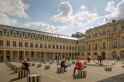Buren's Columns in the courtyard of the Palais Royal in Paris Royalty Free Stock Image
