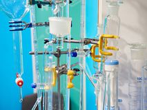 Burettes and flasks in chemical laboratory Stock Photos