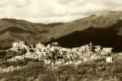 Burg antique de Sicile, tonalité de sépia de style de vintage images stock