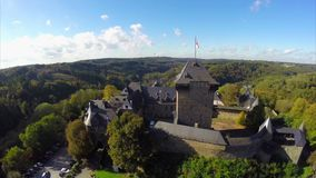 Burg Castle in Solingen, Germany aerial shot reconstructed fort. Stock footage stock video