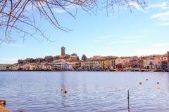 Burg de Marta sur le lac Bolsena image libre de droits