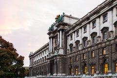 Burg de Neue de palais de Hofburg au lever de soleil, Vienne photographie stock libre de droits