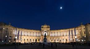 Burg de Vienne Neue la nuit Vue panoramique photos stock