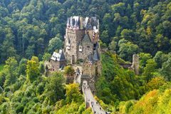 Burg Eltz. Picturesque nature panorama with Burg Eltz, Germany Stock Images