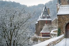 Burg Eltz towers. Details of German castle Burg Eltz. Entrance and towers. Winter view Royalty Free Stock Photos