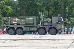 German military MAN Multi 2 swap body truck tanker. BURG / GERMANY - JUNE 25, 2016: german military MAN Multi 2 swap body truck tanker at open day in barrack royalty free stock image