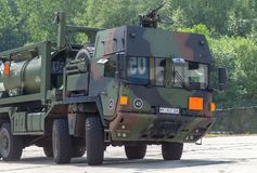 BURG / GERMANY - JUNE 25, 2016: german military MAN Multi 2 swap. Body truck tanker at open day in barrack burg royalty free stock photography
