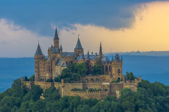Burg Hohenzollern. Hohenzollern castle in Germany is looking like a fantasy prince and princess romantic castle. It's been taken from the Zellerhorn south of the Stock Photo