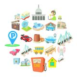 Burg icons set, cartoon style. Burg icons set. Cartoon set of 25 burg vector icons for web isolated on white background Royalty Free Stock Photo