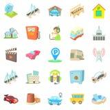 Burg icons set, cartoon style. Burg icons set. Cartoon set of 25 burg vector icons for web isolated on white background Stock Photography