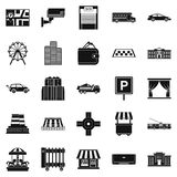 Burg icons set, simple style. Burg icons set. Simple set of 25 burg vector icons for web isolated on white background Stock Image
