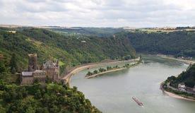 Burg Katz avec la roche de Lorelei photographie stock libre de droits