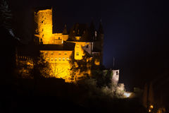 Burg katz rhineland germany at night. The burg katz rhineland germany at night royalty free stock photos