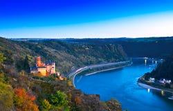 Burg Katz und das Loreley, Deutschland Lizenzfreies Stockfoto
