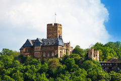 Burg Lahneck view in green forest during summe Stock Photos