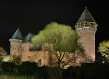 Burg Linn at night. The castele Burg Linn in Krefeld Royalty Free Stock Photos